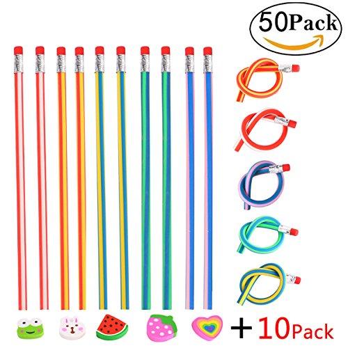 Matita flessibile flessibili 50 pezzi e gomme 10 pezzi, annhao matite morbide per bambini per scuola confezione, regali divertenti per i riempitivi del sacchetto del partito dei bambini
