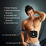 Abdominal Trainer, Abs Fitness Machine for Men & Women,Wireless & Wearable Toning Belt, Powerful 15 Intensity Level and 6 Multi Exercise Programs Workout for Slender Toner Stomach Muscles; Bonus-Storage Bag and Slimming Waist Trimmer