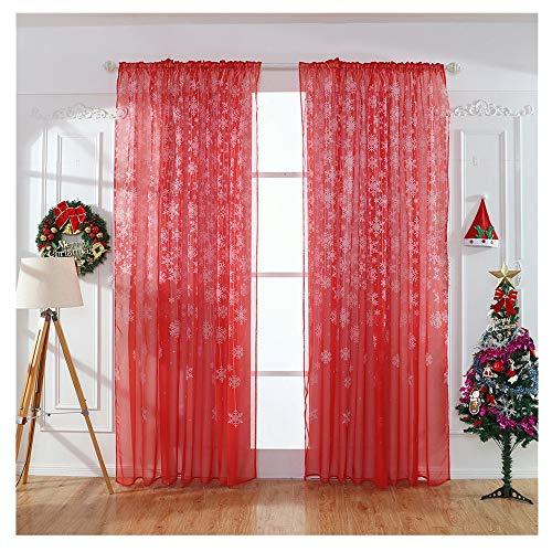 kingko 1 STÜCKE Weihnachten Schneeflocke Vorhang Tüll Fenster Behandlung Voile Drape Valance Vorhänge Transparent Schlaufenschal Gardine Dekoschal Voile für Schlafzimmer Wohnzimmer (Rot)