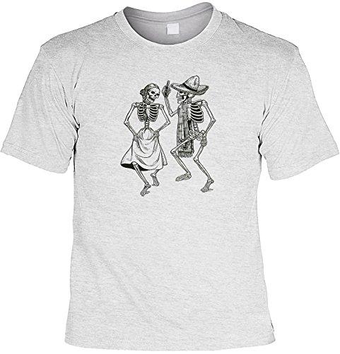Shirt - Halloween - T-Shirt Herren lässiger Gothic Druck: Dancing Skeletons - tolles Halloween-Motiv Grau