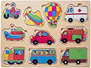 Wooden Toddler Puzzles Vehicle Chunky Peg Jigsaw for Kids Boys Girls 2 to 4 Years Old Shape Color Learning Pre