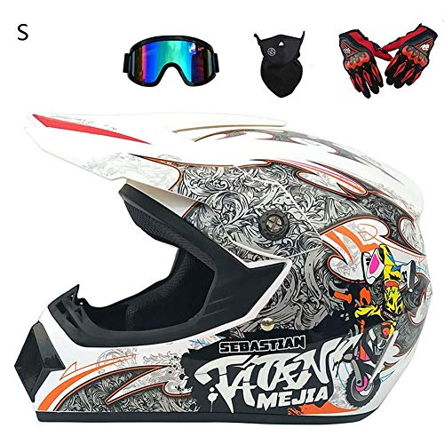 StageOnline Casco de Motocross Todoterreno - Juego de Casco 4PCS Road Racing para el Casco Integral de Campo a través Four Seasons con Gafas y Guantes