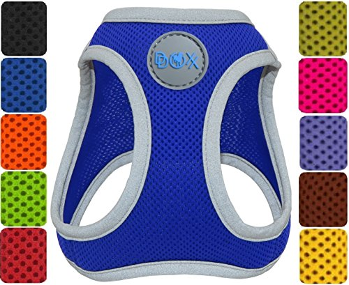 DDOXX Hundegeschirr reflektierend Air Mesh | Step-In | für große, mittelgroße, mittlere & kleine Hunde | Geschirr Hund | Katze | Brustgeschirr | Softgeschirr | Zubehör | Blau, Größe B (S)