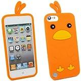 Kit Me Out FR Coque aspect velouté silicone pour Apple iPod Touch 5 / Touch 6 - orange motif poulet mignon