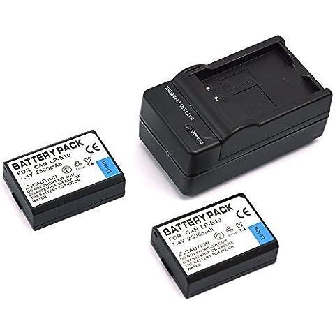 mondpalast@ 2X Reemplazo batería Li-ion type LP-E10 LPE10 2300mah + cargador para Canon EOS 1100D 1200D EOS Rebel T3 T5 Kiss