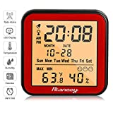 Rtaneey Funk Wetterstation Atomic Radio Uhr Wecker - Digitales Thermo-Hygrometer Monitor Temperatur und Luftfeuchtigkeit - Komfortanzeigen,LCD Display,Hintergrundbeleuchtung