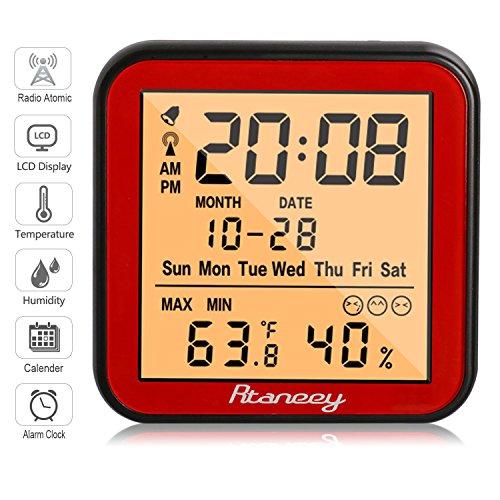 Rtaneey Funk Wetterstation Atomic Radio Uhr Wecker - Digitales Thermo-Hygrometer Monitor Temperatur und Luftfeuchtigkeit - Komfortanzeigen,LCD Display,Hintergrundbeleuchtung - Uhr Lcd Dusche