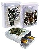 1Stk Zigarettenschachtel Fantasy Art Look Zigarettenetui Zigarettenbox Zigaretten-Box Hardcase Etui (Tiger)