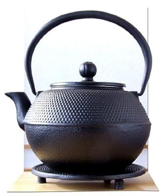 Gifts of the Orient Grande théière en fonte noire d'inspiration japonaise avec repose-théière 1,2 l Noir clouté