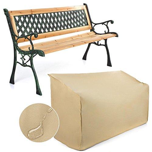 Gartenbank Holzbank Bank aus Gusseisen Holz inkl. Schutzhülle Geflechtdesign