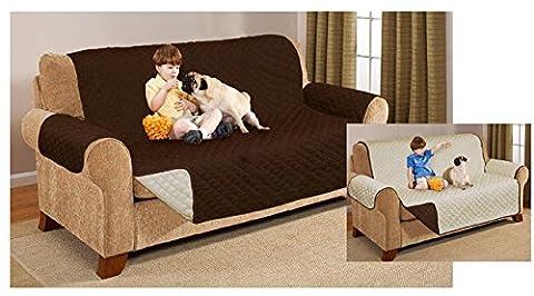 Gesteppte Luxus Sofa Displayschutzfolie–wendbar & Wasser beständig Überwurf Gartenmöbel Schonbezug für 123SEATERS, Cream / Chocolate, Single Seater