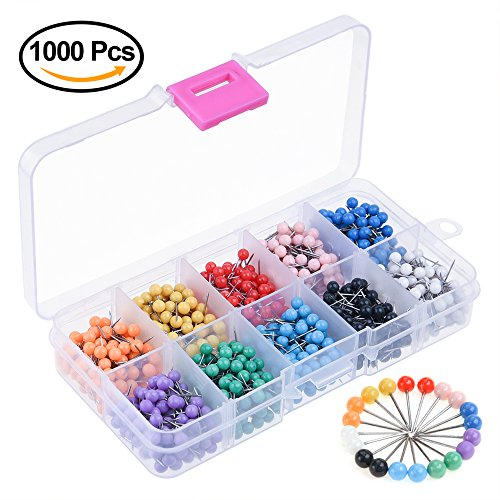 Kuuqa-1000-Pieces-18-inch-Map-Push-Pins-Map-Tacks-with-Plastic-Round-Heads-and-Steel-Needle-Points-10-Colors-Each-Color-100-PCS