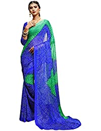 Ligalz Women's Chiffon Saree With Blouse Piece (Amd033870, Blue, Free Size)
