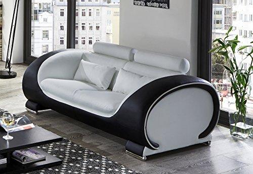 SAM 2-Sitzer Sofa Vigo, weiß / schwarz, Couch aus Kunstleder