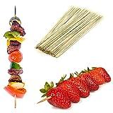 Spiedini lunghi in legno di bambù ideali per il barbecue, kebab, frutta, fontane di cioccolato e fondue, confezione da 500 unità, lunghezza: 25 cm
