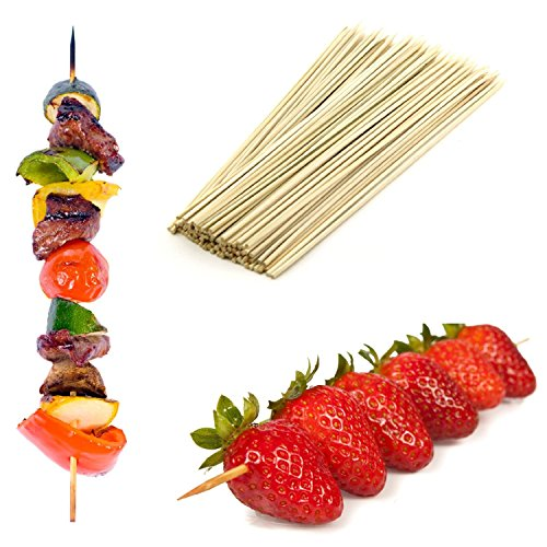 25cm große Bambus-Spieße im Vorteilspack, ideal für BBQ, Kebab, Obst, Schokoladenbrunnen und Fondue, 500 Stück