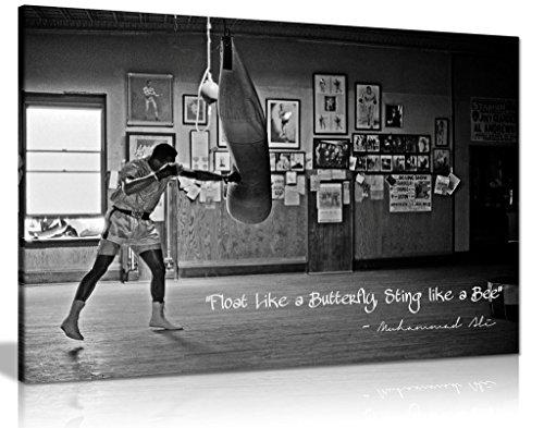 """Leinwand-Kunstdruck-Bild, schwarz-weiß, Zitat von Champion Muhammad Ali: """"Float Like A Butterfly"""" (in englischer Sprache)., schwarz / weiß, A0 91x61cm (36x24in)"""