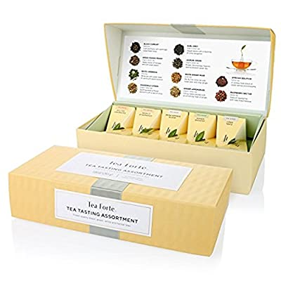 Tea Forte Assortiment de dégustation de thé par Tea Forté, petite boîte de présentation, boîte d'assortiments de thés, 10 infuseurs de thé en forme de pyramide faits main - thé noir, thé blanc, thé vert, tisanes
