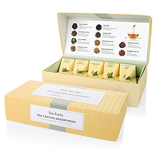 Probierset mit Verschiedenen Teesorten von Tea Forté, Kleine Präsentationsbox mit 10 Handgefertigten, Pyramidenförmigen Teebeuteln - mit Schwarzem Tee, Weißem Tee, Grünem Tee und Kräutertee