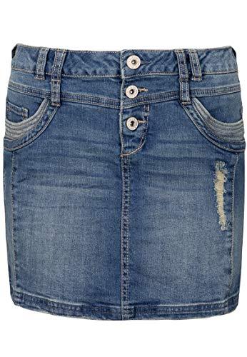 Sublevel Damen Jeans Mini-Rock mit Knöpfen im Used Look Middle-Blue S