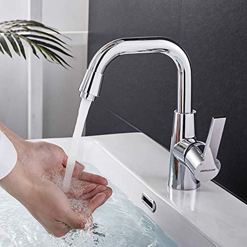 BONADE Armatur Waschtischarmatur 360° Schwenkbereich, Einhebel-Küchenmischer Waschtisch Mischbatterie, Einhandmischer für Bad Chrom, 5 Jahre Garantie