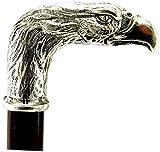 Spazierstock Adler hund massiv Massivholz Zinn Gehstock Silber Farbe Holz elegant alten Vintage italy für die Freiheit für einen Mann eine Frau Cavagnini
