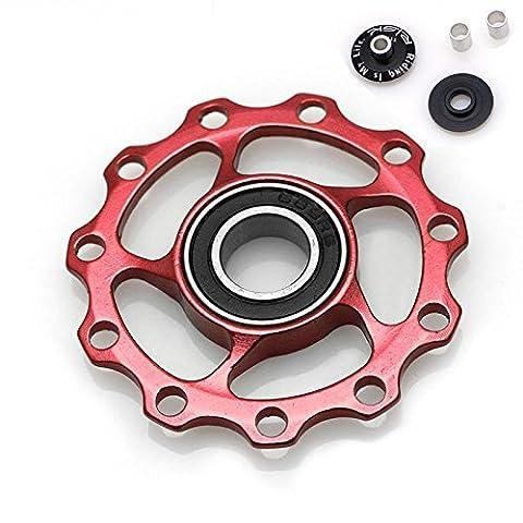dairyshop 11T Vélo MTB Aluminium alliage Roulement de Roue jockey Dérailleur arrière poulies 4couleur, Red