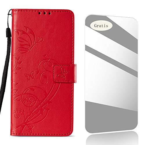 THRION Huawei P9 Plus Funda, Patrón de Flor de Mariposa PU Cuero Funda[Tapa para Tarjetas][Gratuito Protector de Pantalla de Vidrio Templado ]para Huawei P9 Plus - Roja