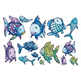 decalmile Regenbogen Fische Wandsticker Meer Wandtattoo Herausnehmbar Vinyl Wandaufkleber Wandbilder für Badezimmer Kinderzimmer Kinder
