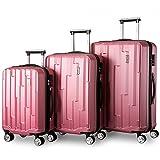 Zwillingsrollen Hartschalen Kofferset Reisekoffer 3 teilig Koffer Trolleyset mit Zahlenschloss, Flieks 3tlg. Gepäck-Sets mit 4 Doppel-Rollen, Set-XL-L-M