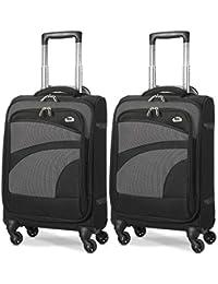 "Aerolite 21"" 55cm Ultra Lightweight 4 Wheel Spinner Carry On Cabin Hand Luggage Suitcase Travel Trolley Flight Bag Case (Black/Grey, Set of 2)"