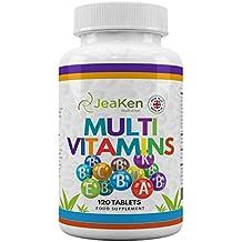 MULTIVITAMINS ABCD & E Por JeaKen | 120 tabletas vegetarianas y veganas 100% RDA |