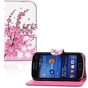 tinxi® Kunstleder Tasche für Samsung Galaxy Trend Lite Tasche Flipcase Schutzhülle Cover Schale Etui Skin Standfunktion mit Karten Slot Pflaumenblüten