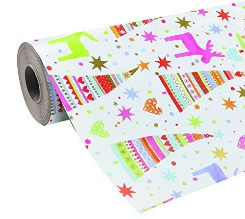 Clairefontaine 211952C Geschenkpapier Suprem (80 g, mit PP Film, Rolle 50 x 0,70 m, Rentier mit Tannenbaum, extra Qualität) bunt