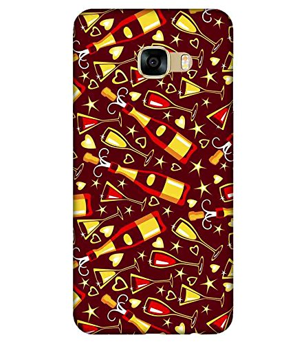 For Samsung Galaxy C9 Pro wine bottle ( wine bottle, bottle, heart, star, brown background ) Printed Designer Back Case Cover By FashionCops  available at amazon for Rs.475