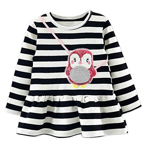 JERFER Mädchen Crewneck Langarm Casual Karikatur Stickerei Party T-Shirt Kleid Kinderkleider Festliche 2-8 T/Jahre (K, 12M)