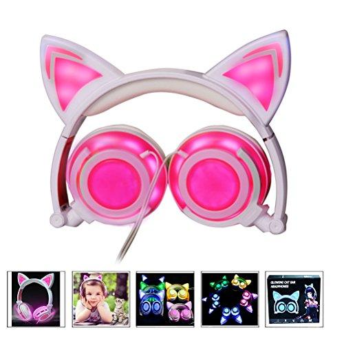 Kinderkopfhörer mit Katzenohr, Kabelgebundene Faltbare USB Wiederaufladbare Ohrhörer für Kinder, Mädchen, Erwachsene, Kompatibel für iOS iPad und Android Telefone (Rosa)
