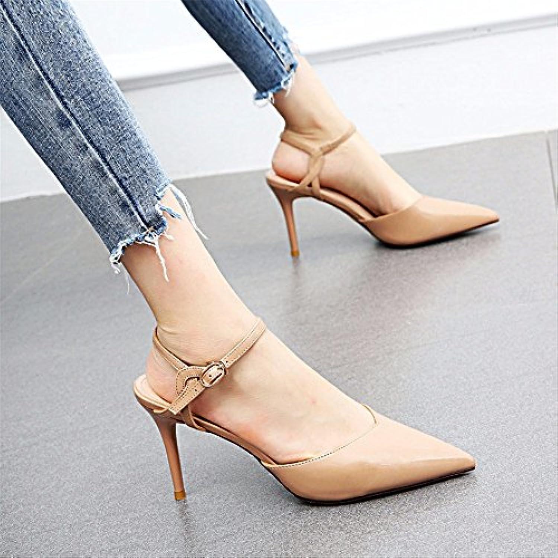 YMFIE Simple Mode Stiletto Pointu Pointu Stiletto en Cuir Verni Haut Talon Dames Sexy Dos Sandales Chaussures Simples ef7a51