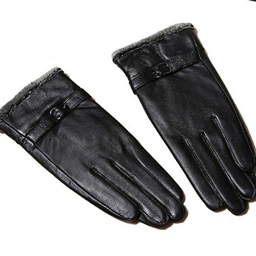 Butterme Womens Touchscreen Texting Driving Winter Warm Lammfell Leder Handschuhe Fahren im Freien Fleece Futter (Schwarz) (Lammfell-futter)