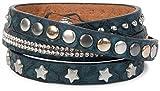 styleBREAKER Wickelarmband mit Strass, verschiedenen Nieten und Sterne, Armband, Damen 05040029, Farbe:Midnight-Blue