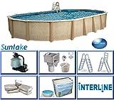 Interline 55000132 oval Pool Sunlake Durchmesser 9,75m x 4,90m, Tiefe 1,32m, Komplett Set 8m³/h, Wasserinhalt ca. 45m³