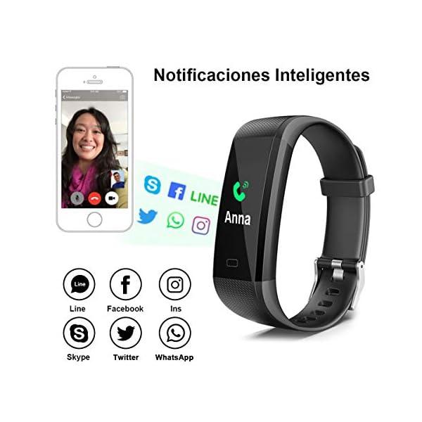 iWalker Smart Pulsera Fitness Tracker, Pulsera Actividad de Frecuencia Cardíaca, Impermeable IP68, Podómetro Deportiva… 4