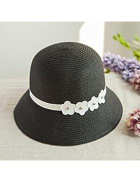 LVLIDAN Sombrero para el sol del verano Dama SolAnti-sol negro Simplestyle Fishermanstrawhat