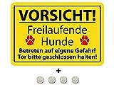 BlechschilderWelt Targhetta Magnetica Attenzione! I Cani a Ruota Libera entrano a Proprio Rischio! 20 x 30 cm con 4 Calamite