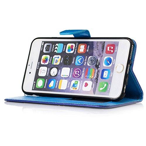 Schutzhülle für Apple iPhone 5 / 5S / SE Golden, TOCASO Ultra Thin PU Leder Flip Cover Tasche Ledertasche Handytasche Hülle für iPhone 5 / 5S / SE Buchstil Handyhülle Protective Case Etui Bumper Schal marineblau