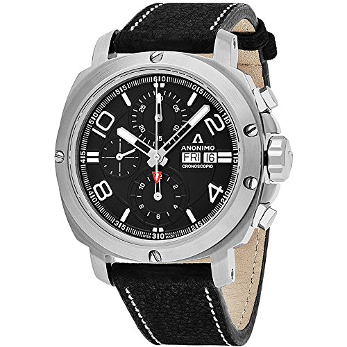 Anonimo Men's Cronoscopio 46mm Black Leather Band Steel Case Automatic...