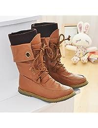 &ZHOU Botas otoño y del invierno botas cortas mujeres adultas 'Martin botas botas Knight A4-1 , yellow , 36