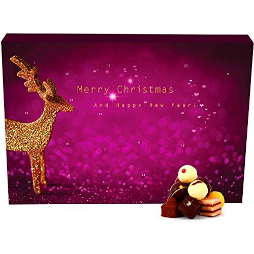Hallingers 24 Pralinen-Adventskalender, mit/ohne Alkohol (300g) - Modern (Advents-Karton) - zu Weihnachten Adventskalender -
