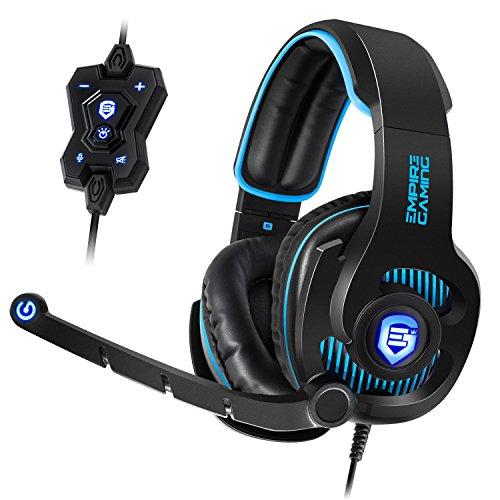 Dolby Digital Headset (Empire Gaming H1800 - Kopfhörer, virtueller 7.1 Stereo Surround-Sound, Kabelfernbedienung, flexibles Mikrofon, Kopfhörer, LED blau. Kompatibel mit USB-Anschluss von PC)