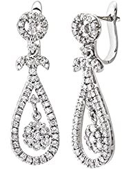 Naava Oro Blanco De 9 ct 1,10 ct Diamante Drop Pendientes